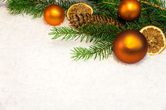 Christmas background with snow and balls Stock Photography