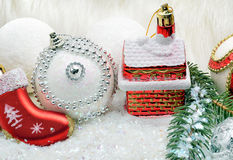 Christmas background with snow Royalty Free Stock Images