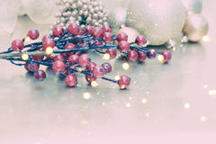 Christmas background with snow and bokeh lights Stock Photos