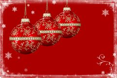 Christmas Background With Snow Border. And red balls stock photo
