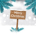 Christmas Background with Snow Covered Wooden. Illustration Christmas Background with Snow Covered Wooden Billboard with Fir Twigs - Vector Royalty Free Stock Image