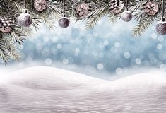 Christmas background with snow field and fir branches royalty free stock images
