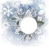 Christmas background with snow-frame and snowflakes Stock Images