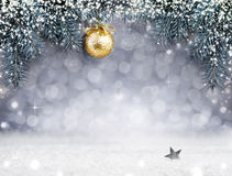 Christmas background with snow and golden ball on spruce branch. Golden Christmas ball on spruce branch isolated on gray background. Christmas background with Stock Image