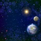 Christmas background, snow in space Stock Images