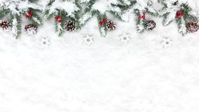 Christmas Background with Snow, Stars, Pine Cones and Fir Tree T