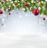 Christmas background with snow. Stock Photo