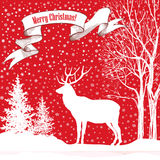 Christmas background. Snow winter landscape with deer and fir tr Royalty Free Stock Photo