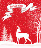 Christmas background. Snow winter landscape with deer.  Merry Ch Royalty Free Stock Photography