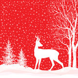 Christmas background. Snow winter landscape with deer.  Merry Ch Stock Photos