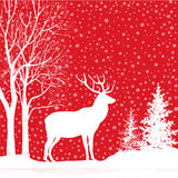 Christmas background. Snow winter landscape with deer. Merry Chr Royalty Free Stock Image