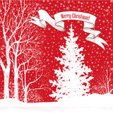 Christmas background. Snow winter landscape with fir tree. Merry Royalty Free Stock Photos