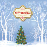 Christmas background. Snow winter landscape.  Retro Merry Christ Royalty Free Stock Images