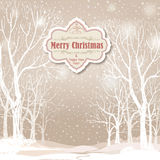 Christmas background. Snow winter landscape.  Retro Merry Christ Royalty Free Stock Image