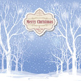 Christmas background. Snow winter landscape.  Retro Merry Christ Stock Photo