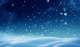 Winter night landscape. Christmas background with snow.Winter night landscape. Happy new year greeting card with copy-space Royalty Free Stock Photography