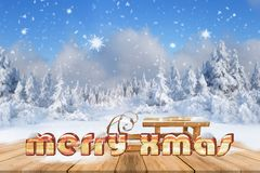 Christmas background with snowed fir trees and snowfall Stock Images
