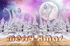Christmas background with snowed fir trees and text Stock Photography