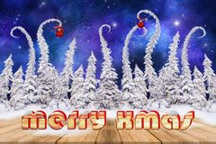 Christmas background with snowed twirled fir trees Stock Images