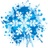 Christmas Background - Snowflake. Grungy Christmas Decoration With Blue Splatters royalty free illustration