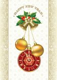 Christmas background with snowflake, clocks and balls Royalty Free Stock Images