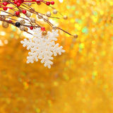 Christmas background with snowflake and gold bokeh. Christmas background with snowflake, red berry and golden bokeh Stock Photos