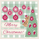 Christmas Background with snowflake and teddy bear. Pattern for winter holiday design, Embroidery stylization. Merry Christmas Stock Image