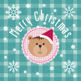 Christmas Background with snowflake and teddy bear. Royalty Free Stock Image