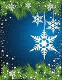Christmas background with snowflakes. Fir christmas new year holiday celebration vector illustration