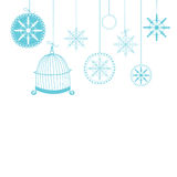 Christmas background with snowflakes. Abstract Christmas background with hand drawn snowflake and bird's cage. Vector illustration for Christmas card Royalty Free Stock Photography