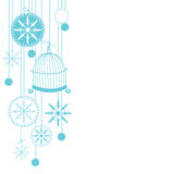 Christmas background with snowflakes. Abstract Christmas background with hand drawn snowflake and bird's cage. Vector illustration for Christmas card Stock Photography