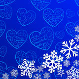 Christmas background with snowflakes on background of hearts Stock Photo