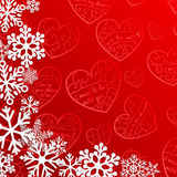Christmas background with snowflakes on background of hearts Stock Image