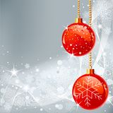 Christmas background with  snowflakes and balls Royalty Free Stock Image