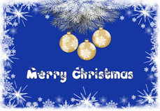 Christmas background with snowflakes and balls. Christmas blue background with snowflakes and balls royalty free illustration