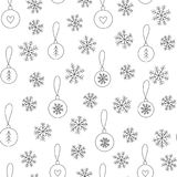 Christmas background with snowflakes and balls. Christmas background with hand drawn snowflakes and balls. Black and white xmas seamless pattern can be used for royalty free illustration