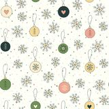 Christmas background with snowflakes and balls. Cute Christmas background with cartoon hand drawn snowflakes and balls, tree. Xmas seamless pattern in green Royalty Free Stock Photos