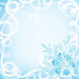 Christmas background with snowflakes and a blizzard. Space for text Stock Photos