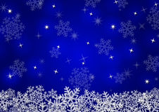 Christmas background with snowflakes. In blue colored scenery Stock Photography