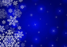 Christmas background with snowflakes. In blue colored scenery Stock Photo