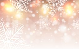 Christmas background with snowflakes. Winter snow background, vector illustration Royalty Free Stock Photography