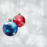 Christmas background with snowflakes and Christmas balls. Christmas background with snowflakes in gray colors and Christmas balls royalty free illustration