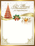 Christmas background with snowflakes and Christmas tree. Is decorated with 2016 gold ribbon with bells vector illustration