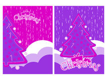 Christmas background with snowflakes and Christmas tree. Elements grunge style. Vector Stock Images