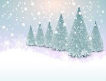 Christmas background with snowflakes. And christmas trees, winter vector illustration Stock Image