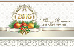 2016 Christmas background with snowflakes. Decorated with golden ribbon and bells Royalty Free Stock Images