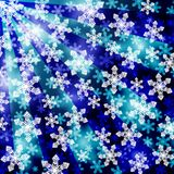 Christmas background. Snowflakes with a focusing effect in front of blue and stripes. Eps 10 Stock Images