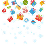 Christmas background with snowflakes and gift boxes. On white Stock Photography