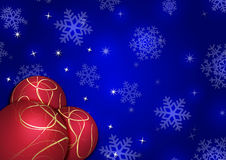 Christmas background with snowflakes and globes. In blue colored scenery Stock Image
