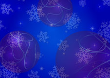 Christmas background with snowflakes and globes. In blue colored scenery Royalty Free Stock Photo